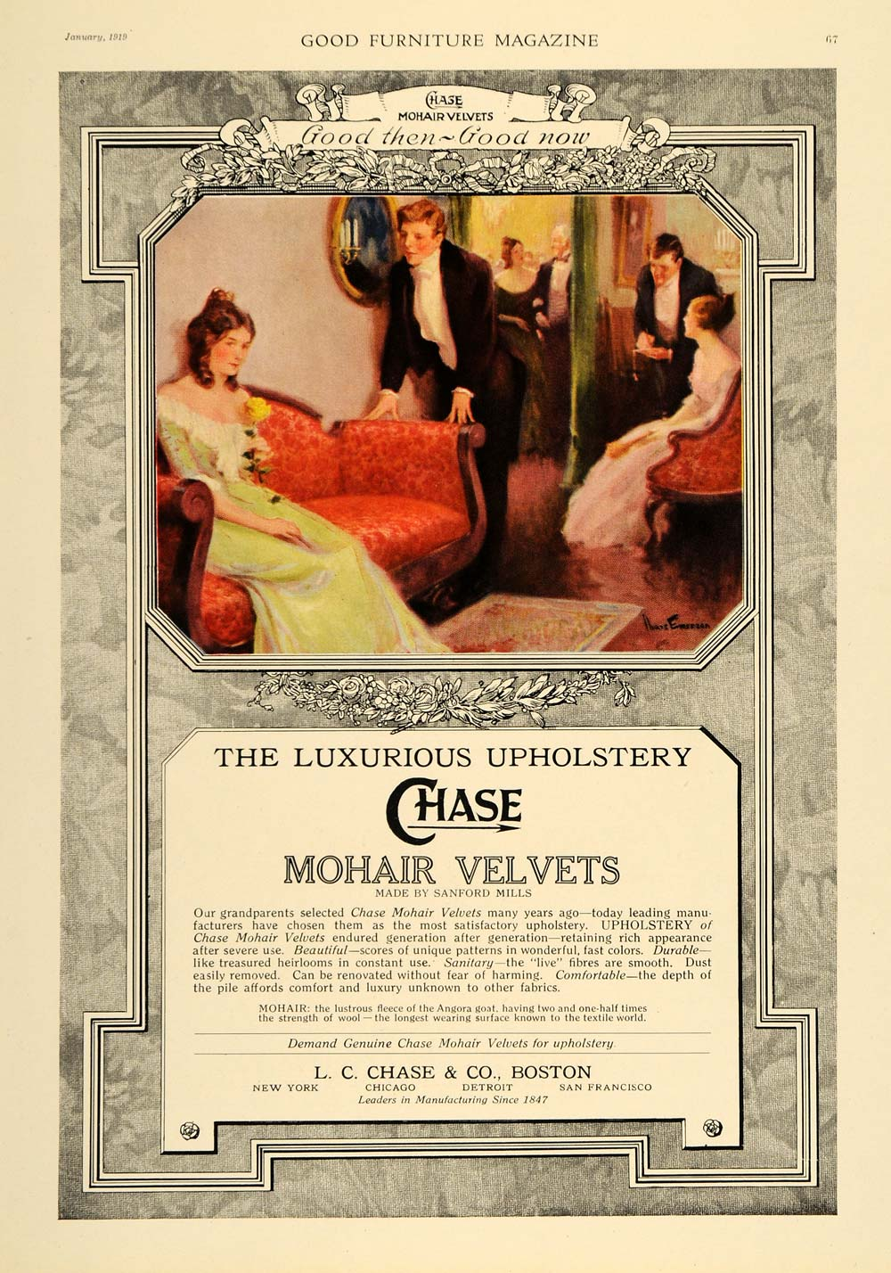 1919 Ad Emerson Illustration Chase Mohair Velvets Couch - ORIGINAL GF3