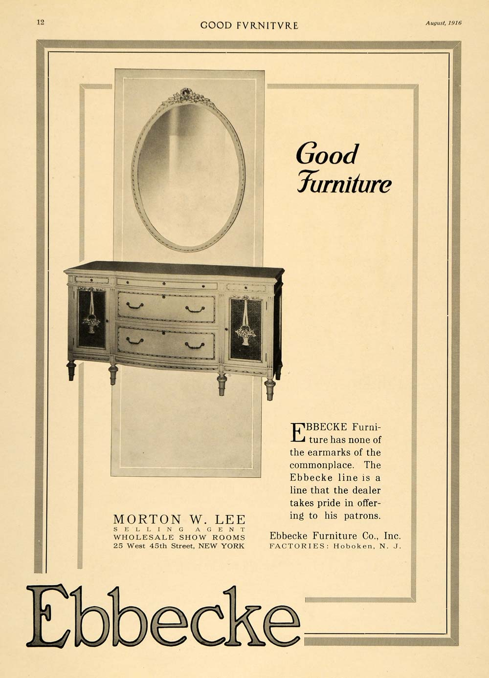 1916 Ad Morton W Lee Ebbecke Furniture Dresser Mirror - ORIGINAL ADVERTISING GF3