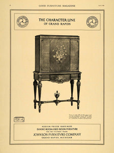 1921 Ad Johnson Furniture Co. Louis xvi Cabinet Decor - ORIGINAL ADVERTISING GF4