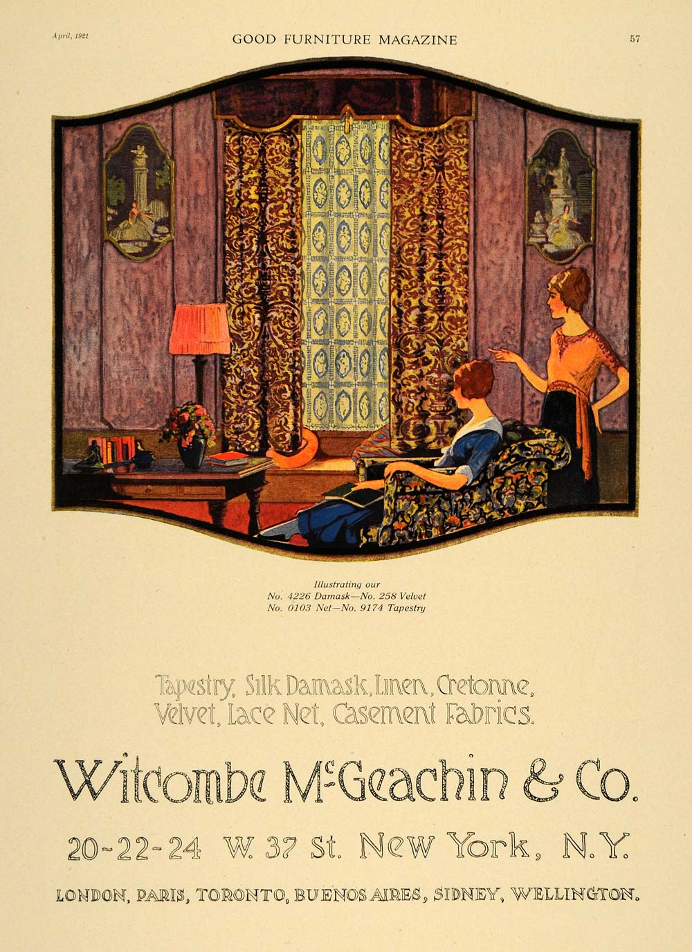 1921 Ad Witcombe McGeachin & Co Tapestry Damask Curtain - ORIGINAL GF4