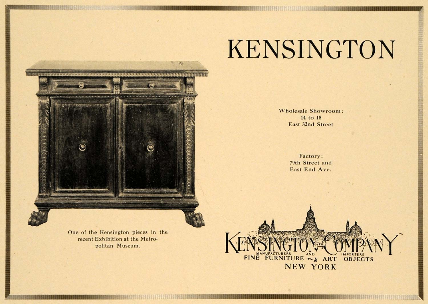 1921 Ad Kensington Co. Furniture Art Objects Cabinet - ORIGINAL ADVERTISING GF4