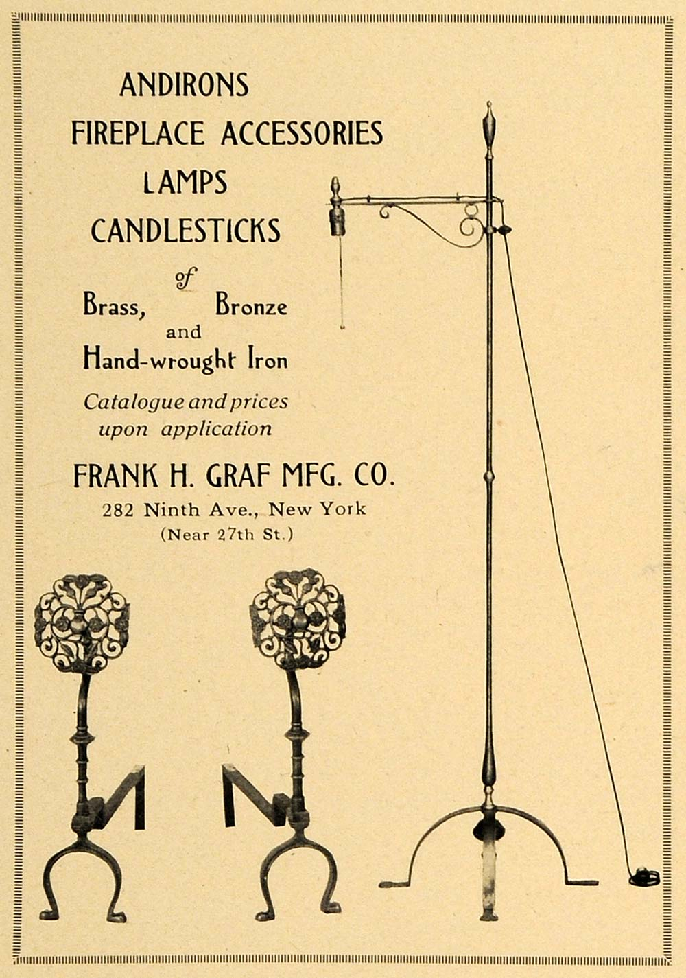 1921 Ad Frank H Graf Mfg. Co. Andirons Lamps Decor - ORIGINAL ADVERTISING GF4