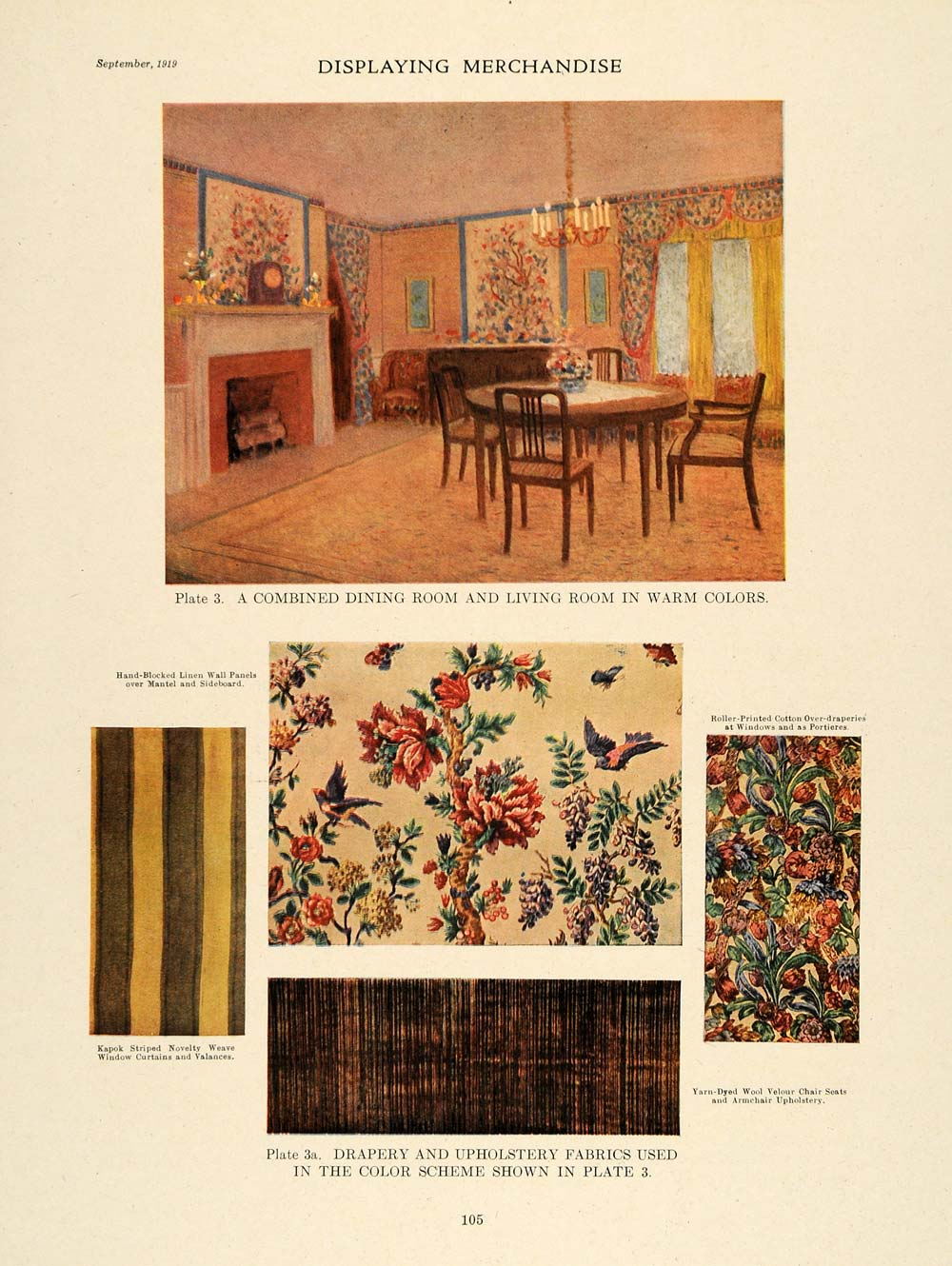 1919 Warm Color Scheme Combined Dining Living Rooms - ORIGINAL GF4