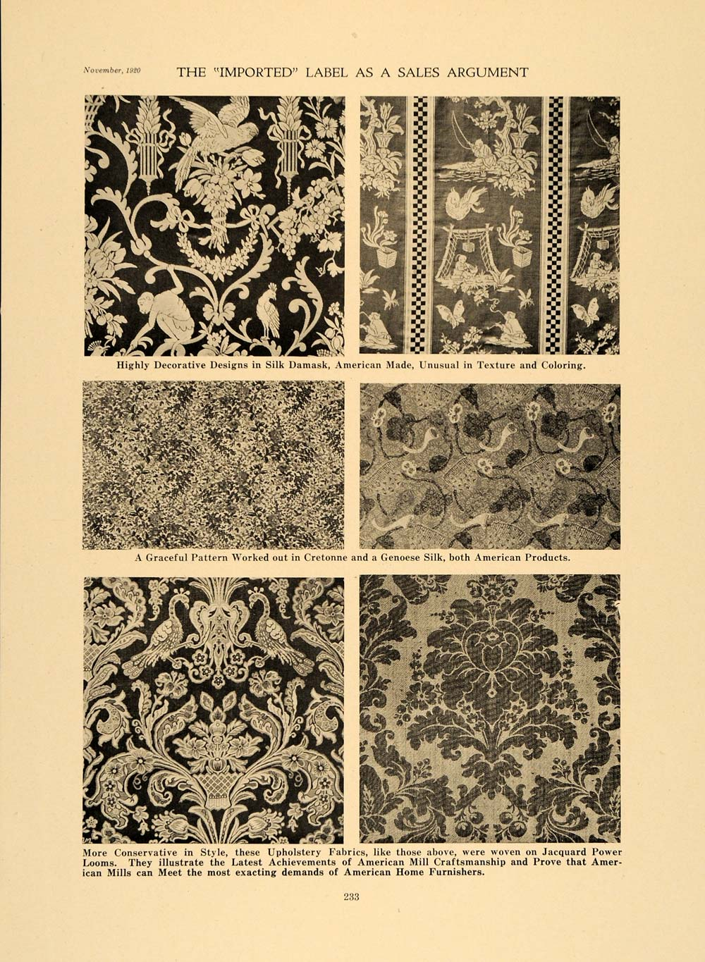1920 Print Silk Damask Cretonne Genoese Fabric Designs ORIGINAL HISTORIC GF4