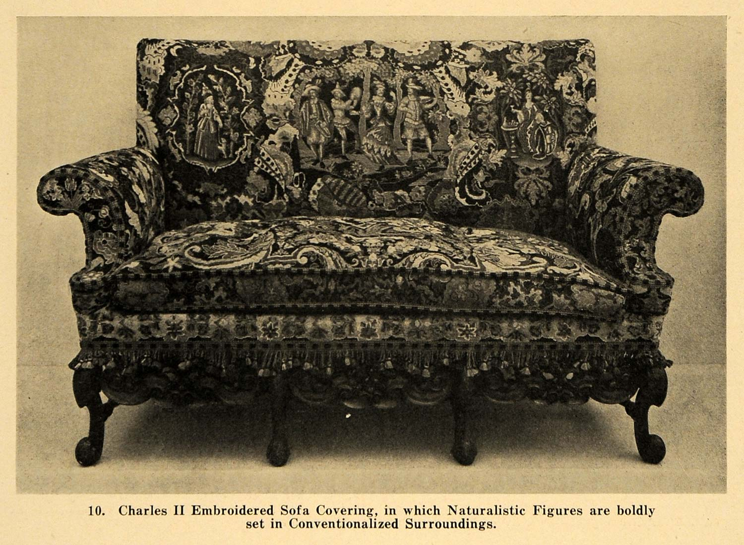 1921 Print Charles II Embroidered Sofa Upholstery Cover ORIGINAL HISTORIC GF4