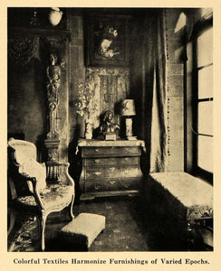 1921 Print Textile Sitting Room Bureau Window Armchair ORIGINAL HISTORIC GF4