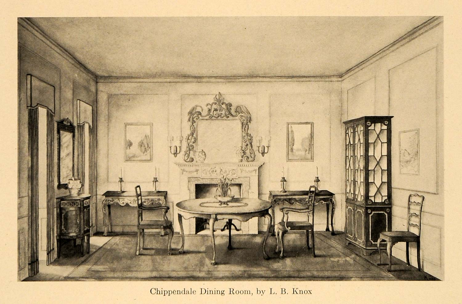 1920 Print Chippendale Furniture Dining Room L. B. Knox ORIGINAL HISTORIC GF4