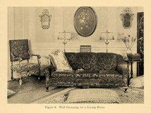 1920 Print Living Room Furniture Couch Sofa Pillow Lamp ORIGINAL HISTORIC GF4