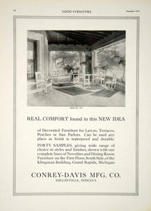 1915 Ad Vintage Conrey-Davis Furniture Porch Lawn Veranda Shelbyville IN GF5