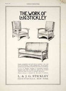1916 Ad L & J G Stickey Arts & Crafts Furniture Sofa Chair Fayetteville NY GF5