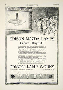 1916 Ad Vintage Mazda C Light Bulb Edison Lamp Works Crowd Store Magnet GF5