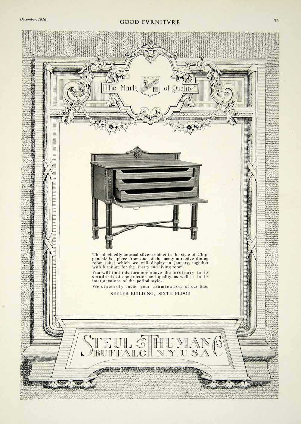 1916 Ad Steul & Thuman Chippendale-style Silver Cabinet Furniture Buffalo NY GF5