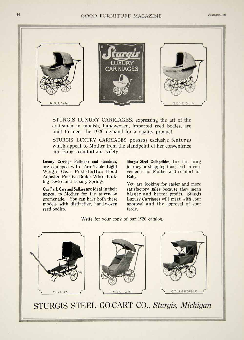 1920 Ad Vintage Sturgis Baby Carriage Wicker Buggy Pram Stroller Antique Gf5