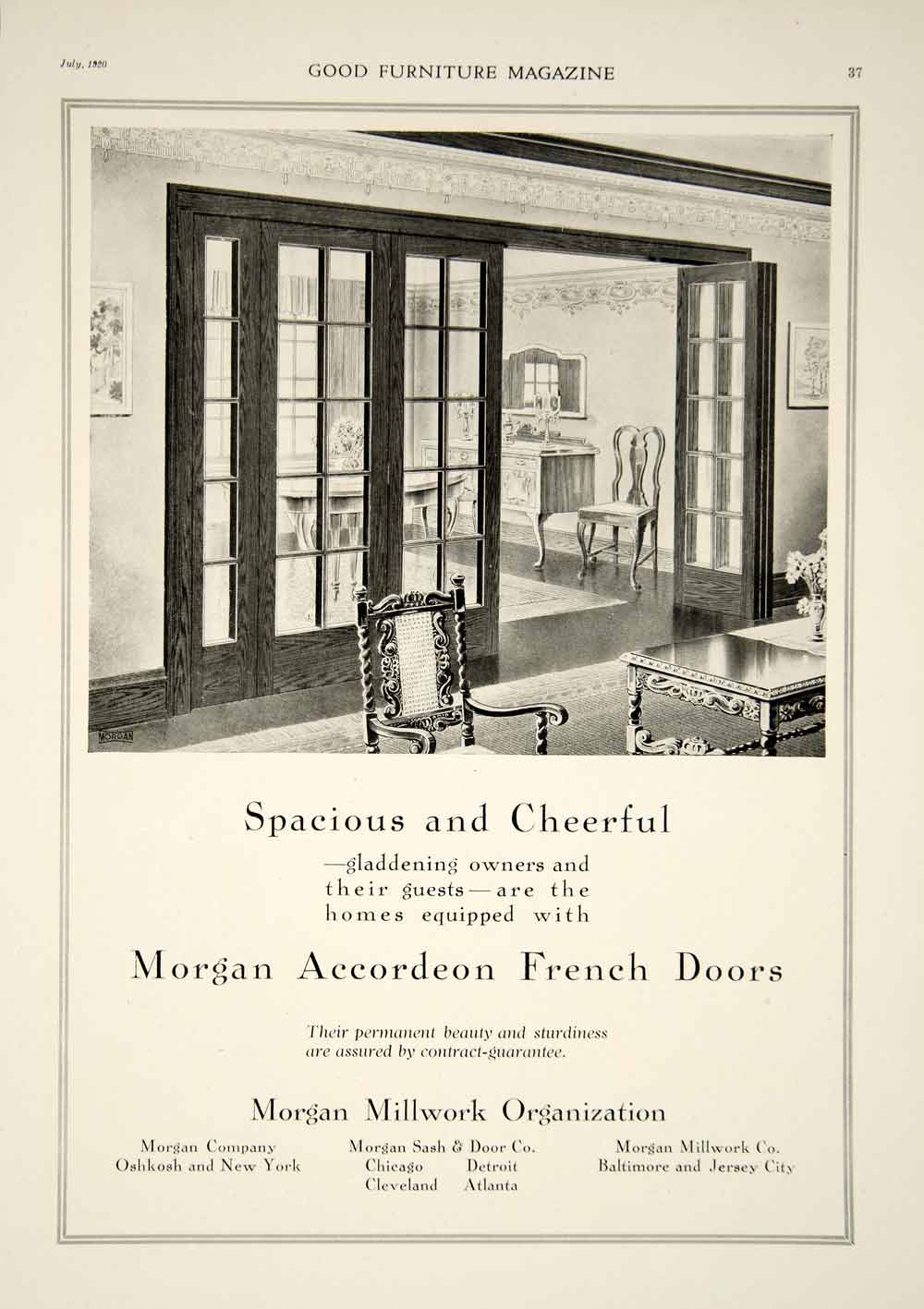 1920 Ad Vintage Morgan Accordion French Doors Home House