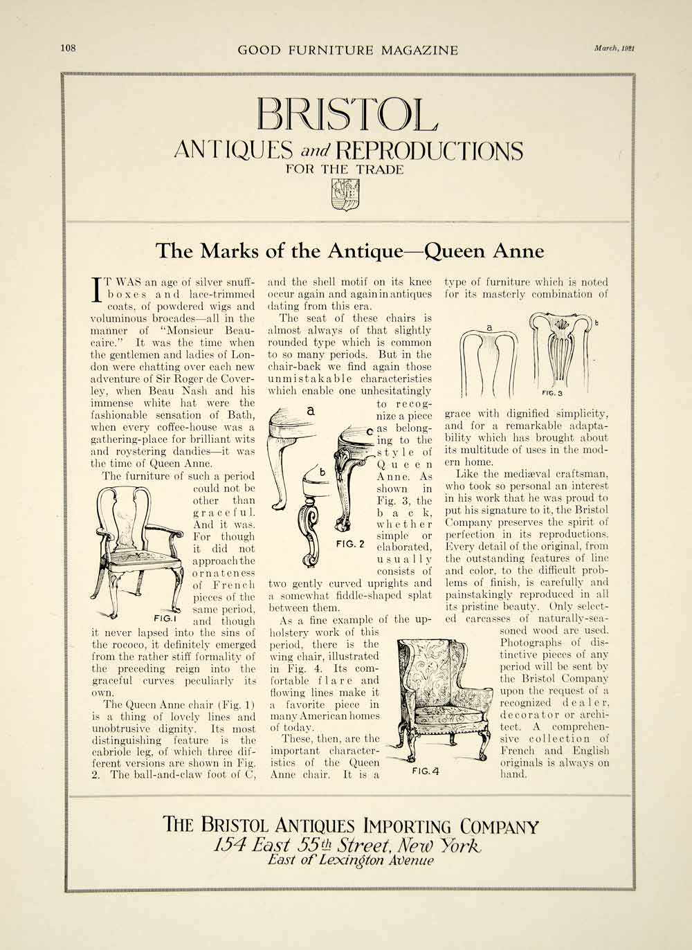 1921 Ad Bristol Antiques Queen Anne Furniture Wing Chair Characteristics GF5
