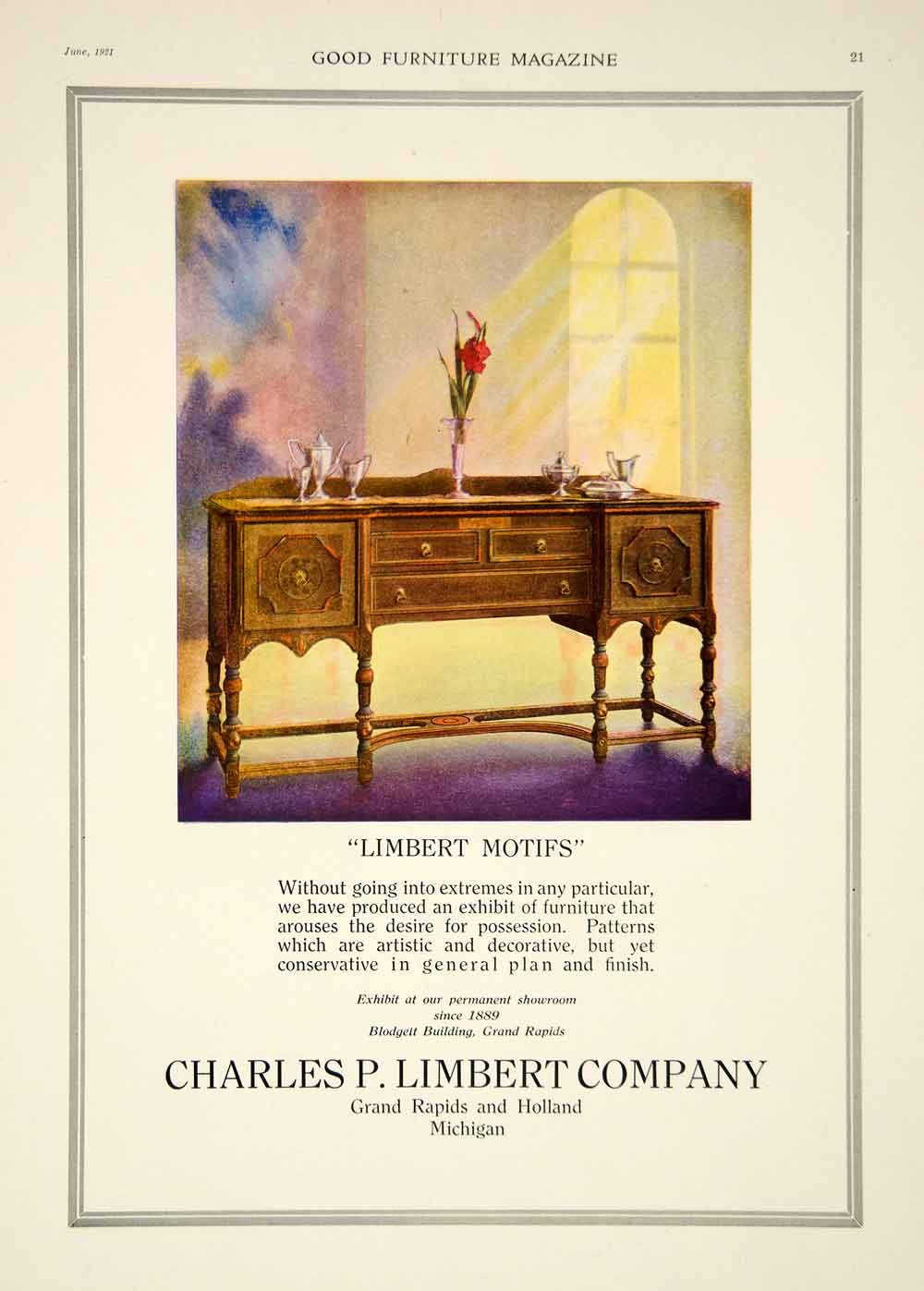 1921 Ad Vintage Charles P. Limbert Furniture Dining Room Sideboard Table GF5