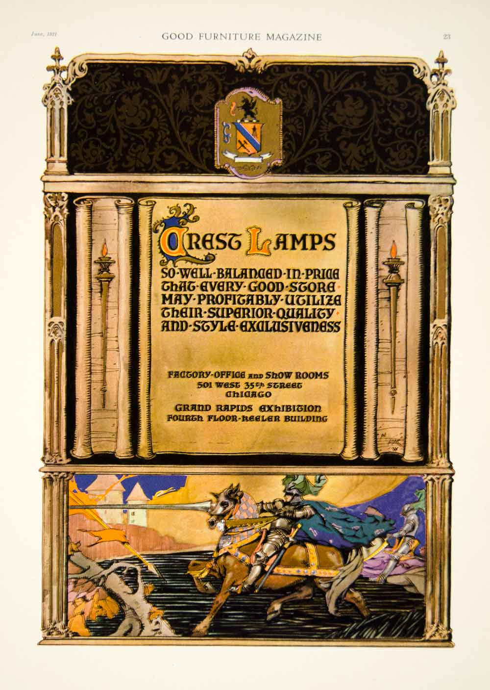 1921 Ad Vintage Crest Lamps Lighting Fixtures Medieval Knight Horse Jousting Gf5