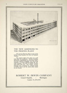 1920 Ad Robert W. Irwin Co. Phoenix Furniture Factory Grand Rapids Michigan GF5