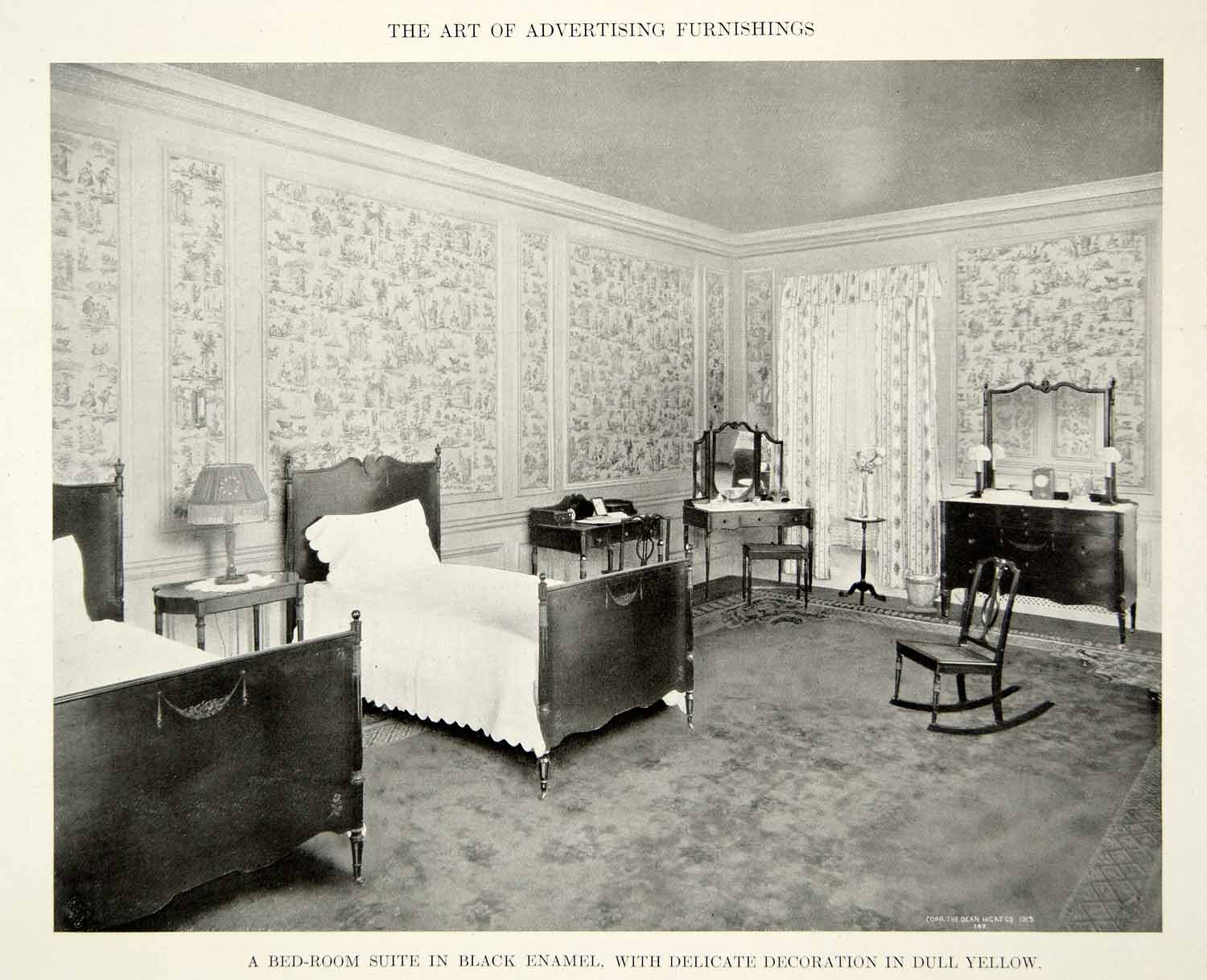 1915 Print Antique Bedroom Furniture Suite Twin Beds Dresser Interior  Design GF5 - 1915 Print Antique Bedroom Furniture Suite Twin Beds Dresser