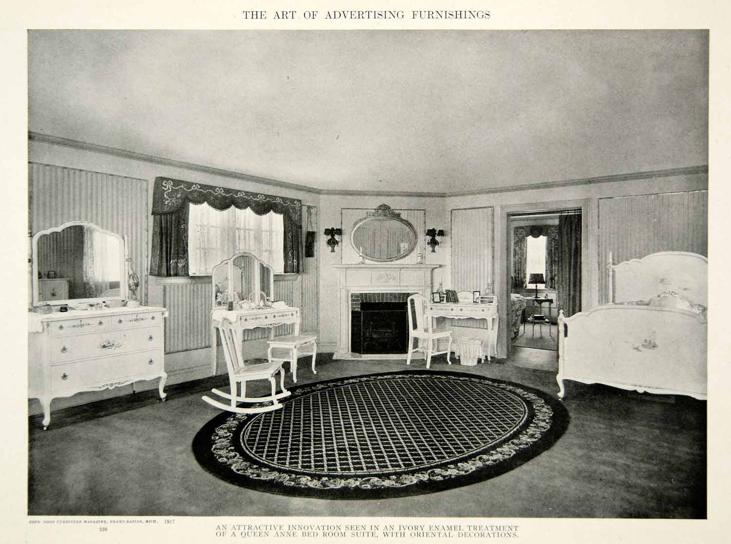 1917 Print Bedroom Furniture Queen Anne Style Bed Dresser Interior Design  GF5