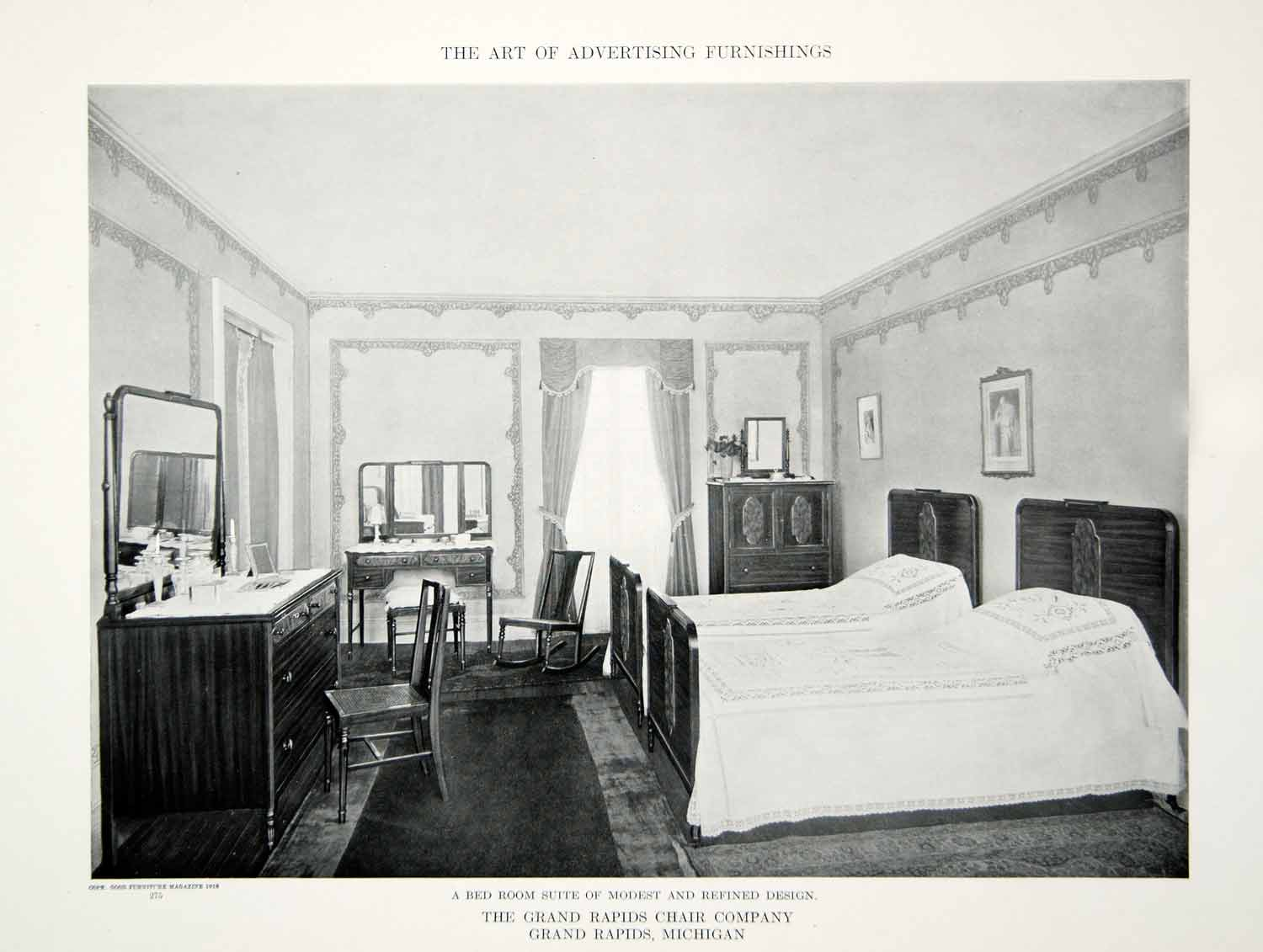 1918 Print Antique Bedroom Furniture Twin Beds Interior Design Home De Period Paper