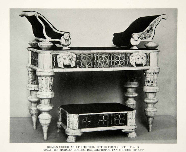 1918 Print Antique Roman Couch Footstool 1st Century