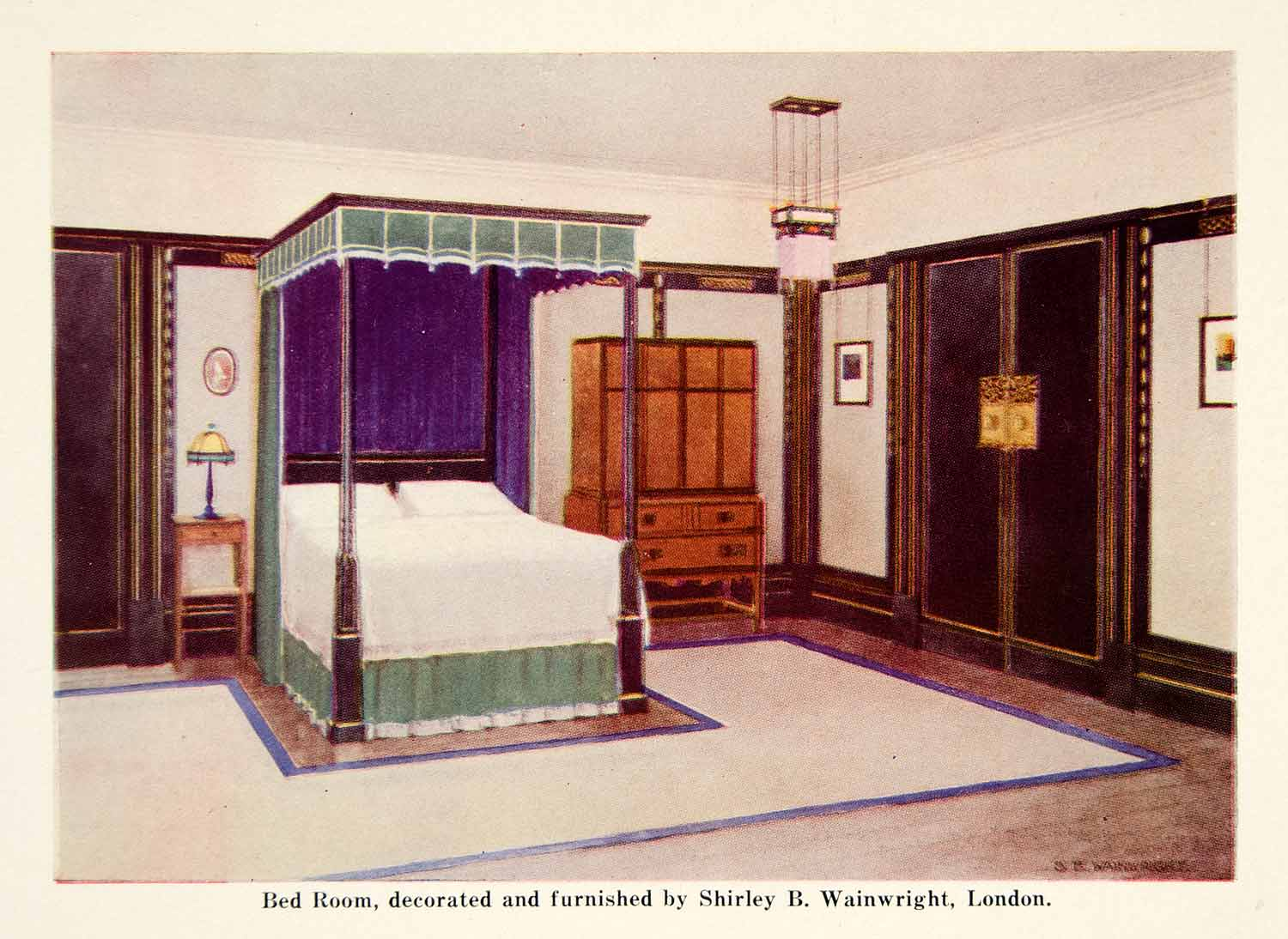 1921 Color Print Bedroom  Art Deco Interior Design Bed Shirley B. Wainwright GF5