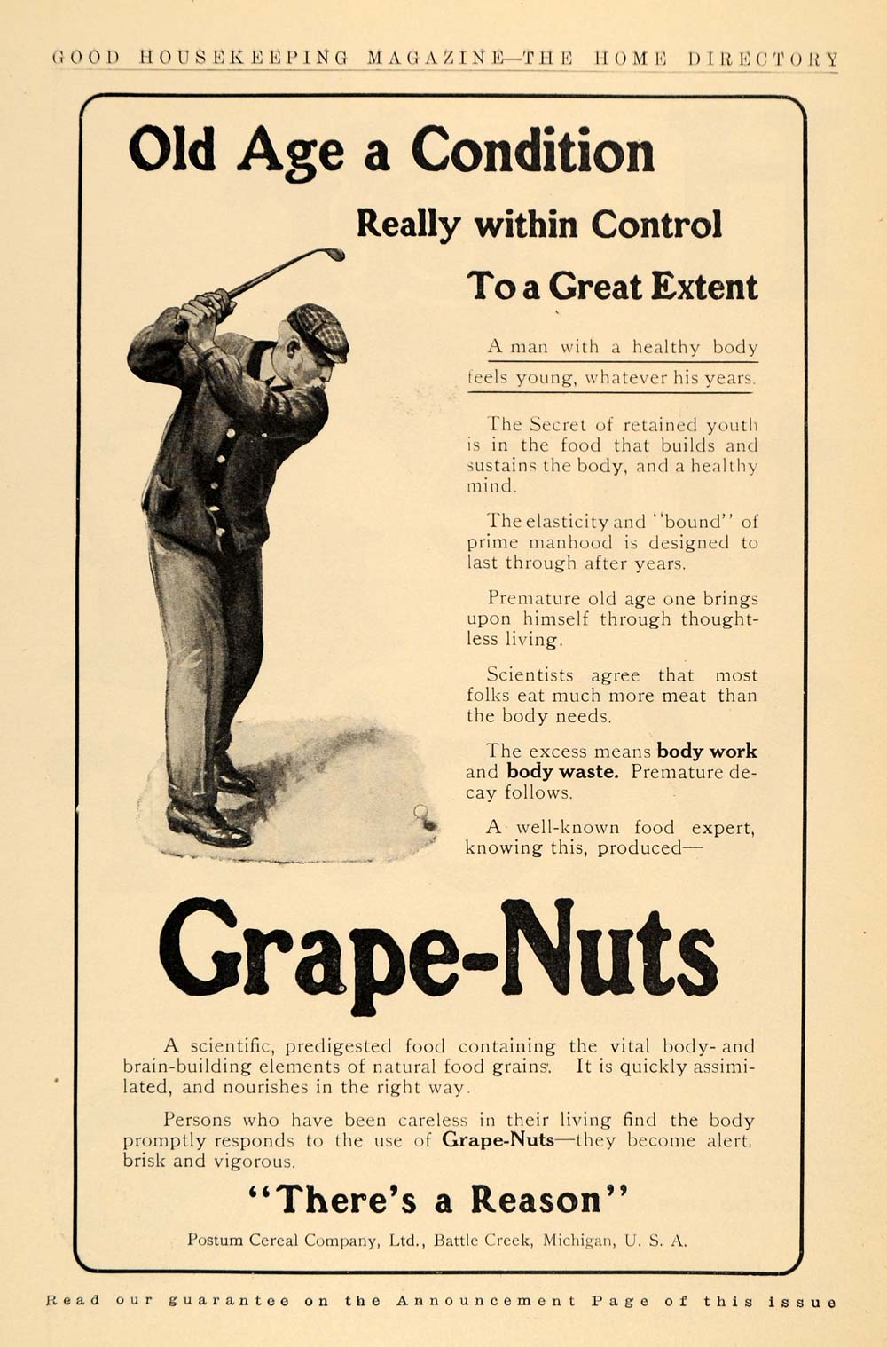 1910 Ad Grape Nuts Golfer Postum Cereal Company Ltd - ORIGINAL ADVERTISING GH2