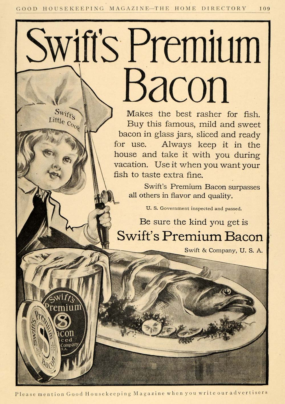 1911 Ad Swift's Premium Bacon Glass Jar Fish Dish Rod - ORIGINAL ADVERTISING GH2