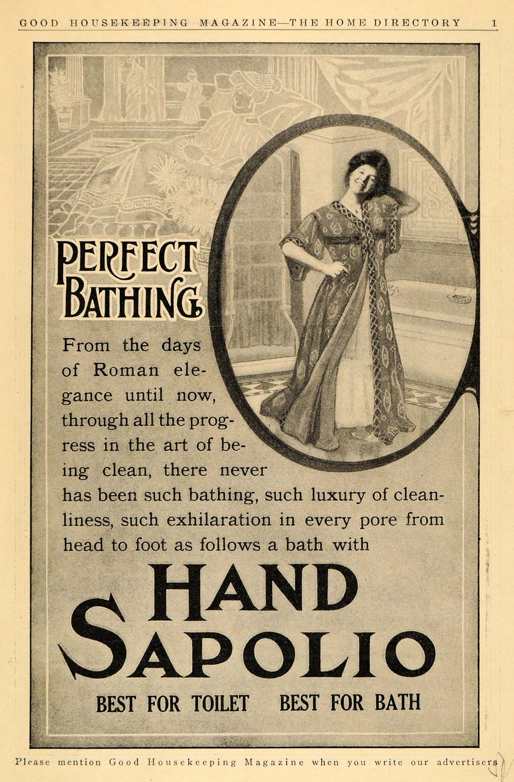 1911 Ad Hand Sapolio Toilet Bath Soap Woman Bathrobe - ORIGINAL ADVERTISING GH2