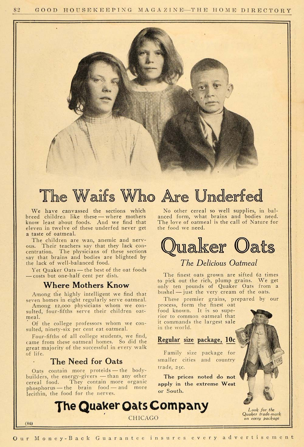 1911 Ad Quaker Oats Breakfast Cereal Meal Children - ORIGINAL ADVERTISING GH2
