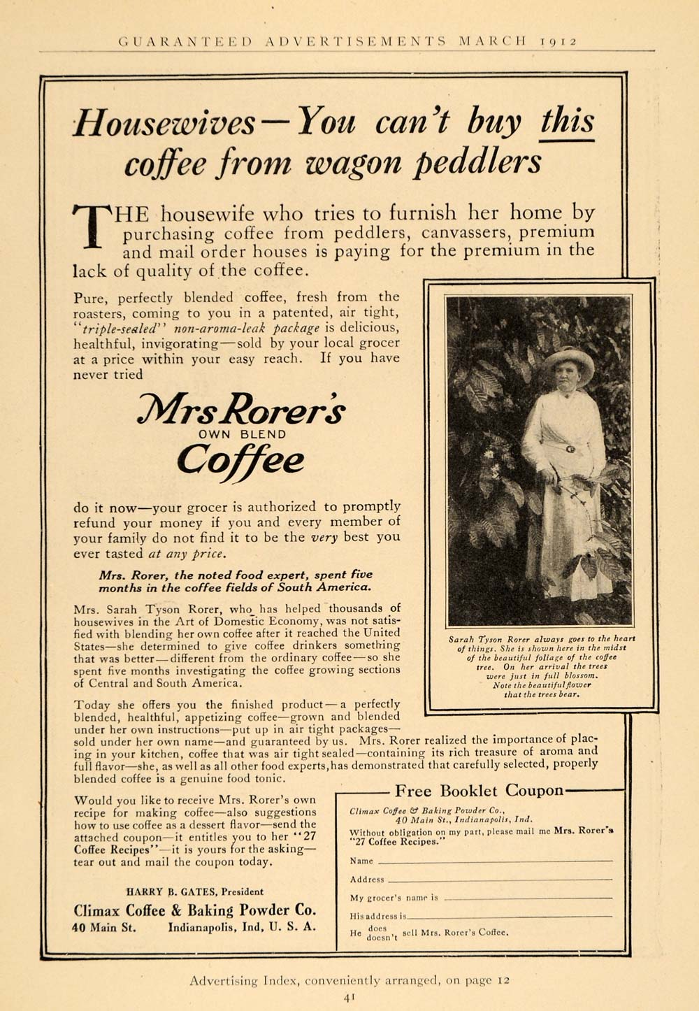 1912 Ad Climax Coffee Baking Powder Sarah Tyson Rorer - ORIGINAL ADVERTISING GH2