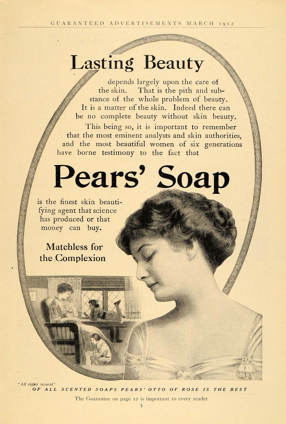 1912 Ad Pears' Otto Rose Scented Toilet Bath Soap - ORIGINAL ADVERTISING GH2