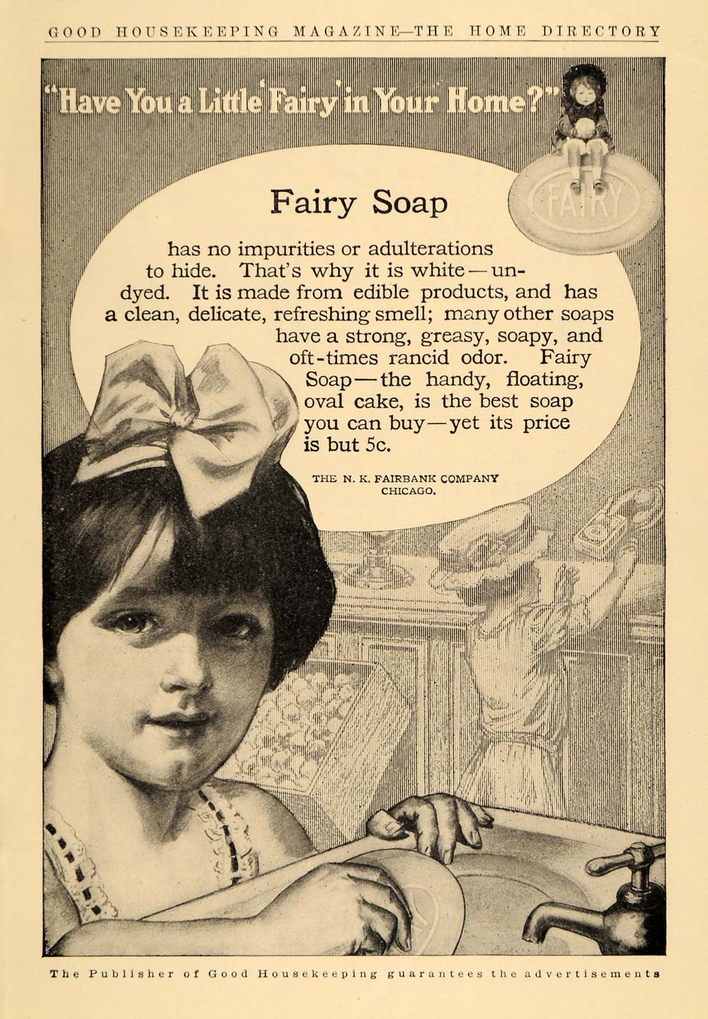 1910 Ad Fairbank Fairy Toilet Bath Soap Child Ribbon - ORIGINAL ADVERTISING GH2