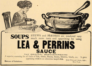 1910 Ad John Duncan's Son Lea & Perrins Sauce Soups - ORIGINAL ADVERTISING GH2