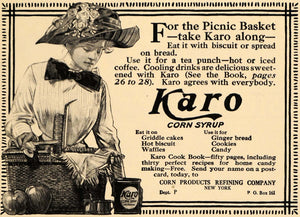 1910 Ad Corn Products Refining Karo Corn Syrup Hat - ORIGINAL ADVERTISING GH2