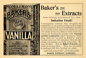 1902 Ad Baker's Pure Fruit Vanilla Extracts Desserts - ORIGINAL ADVERTISING GH2