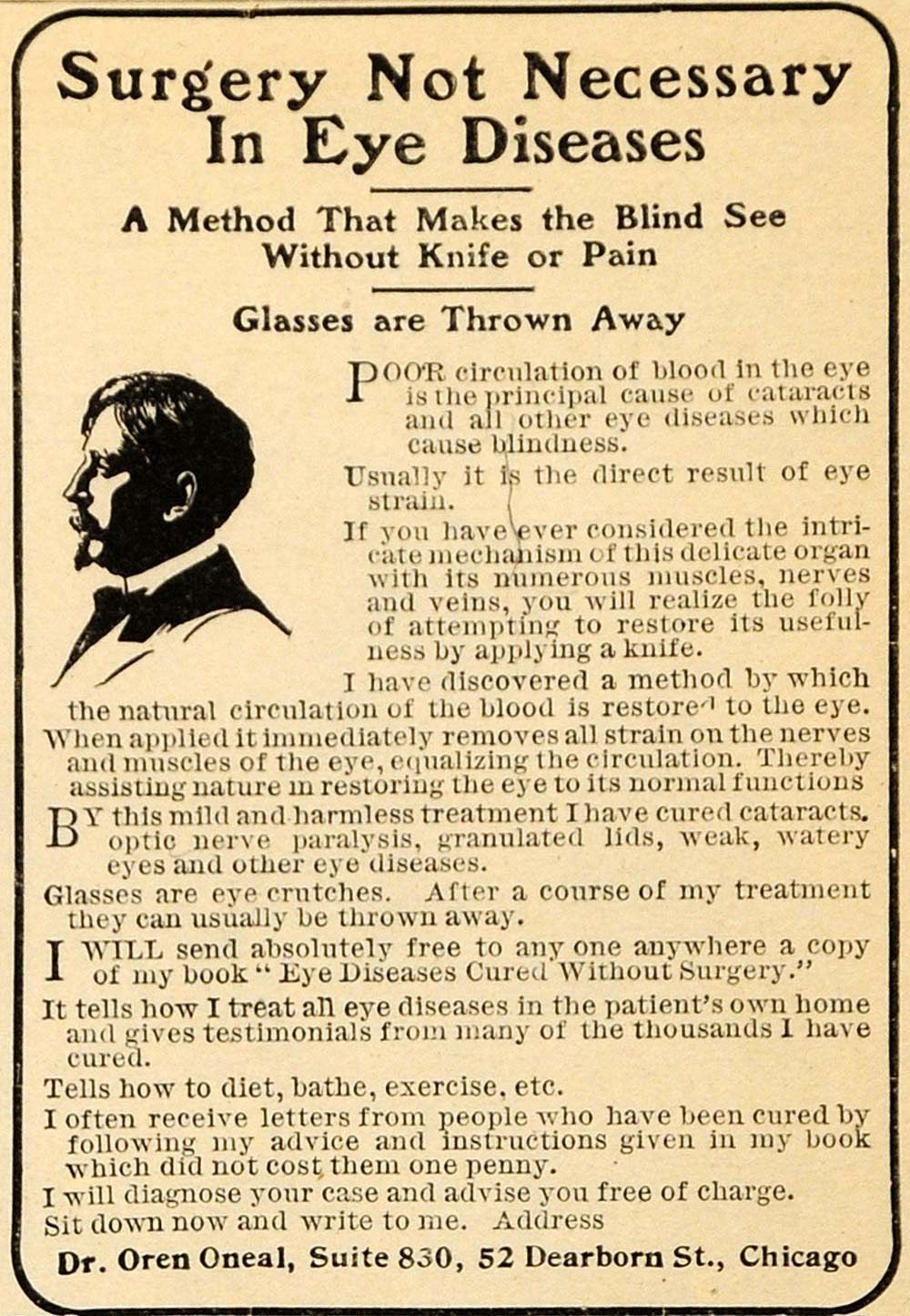 1905 Ad Dr. Oren Oneal Blindness Eye Cure Treatment - ORIGINAL ADVERTISING GH2