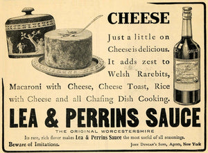 1908 Ad Lea Perrins Worcestershire Sauce With Cheeses - ORIGINAL ADVERTISING GH2