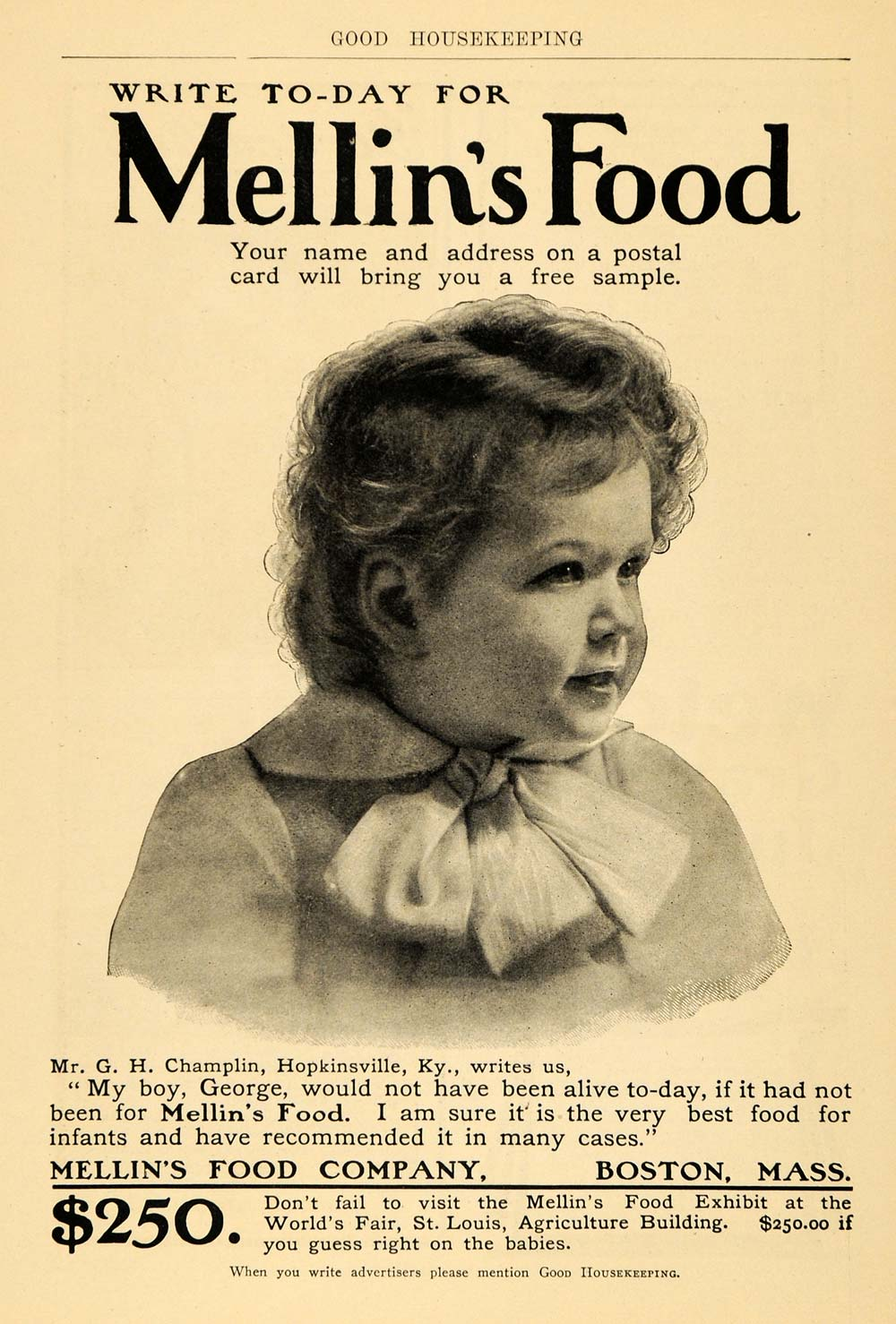 1904 Ad Mellin's Baby Food George Champlin Hopkinsville - ORIGINAL GH2