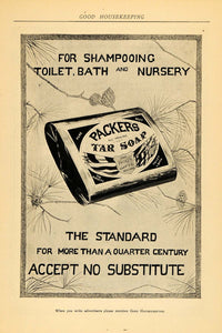 1902 Ad Packer's Tar Soap Shampoo Toilet Bath Nursery - ORIGINAL ADVERTISING GH2