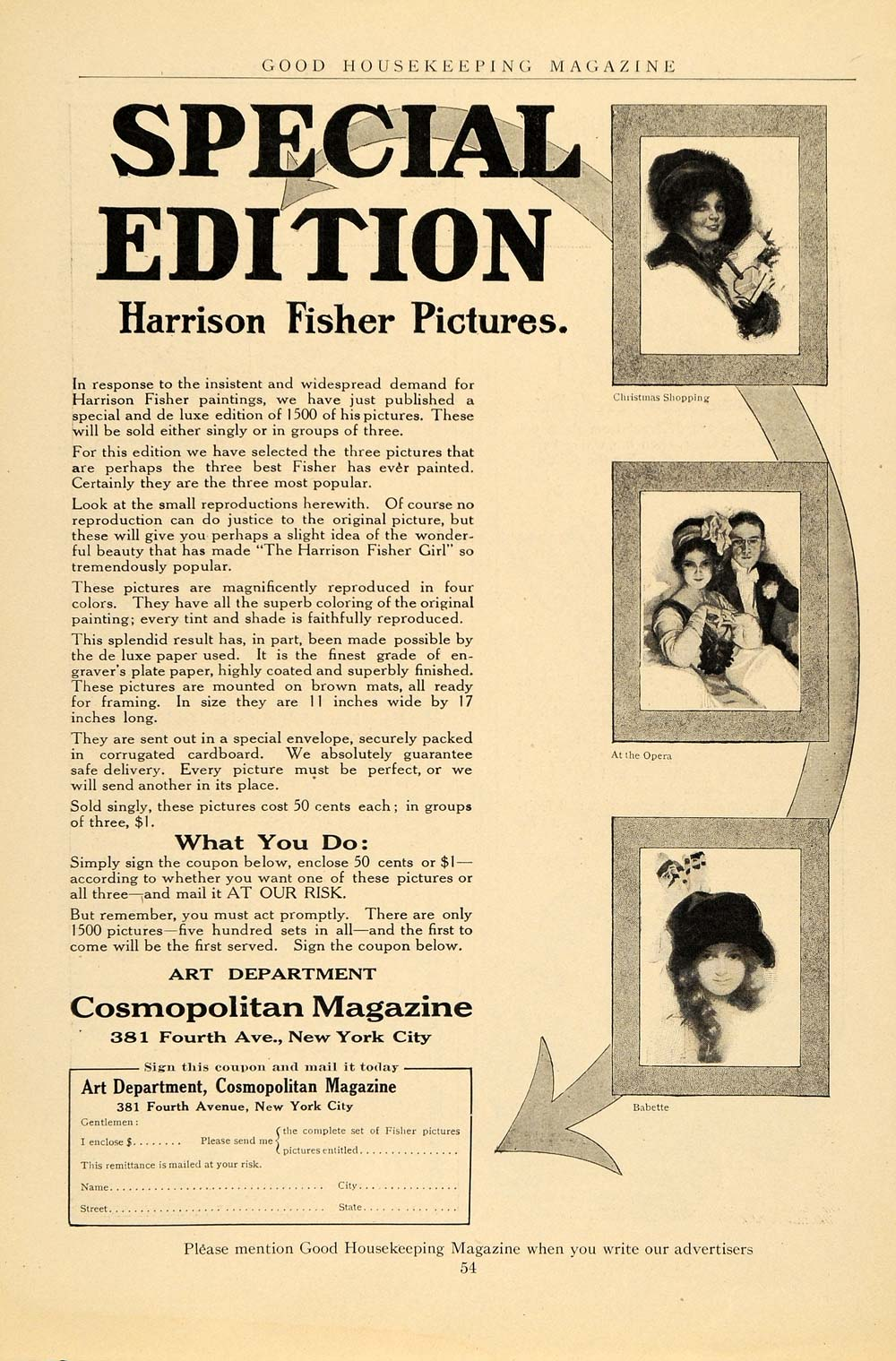 1912 Ad Cosmopolitan Magazine Harrison Fisher Pics - ORIGINAL ADVERTISING GH2