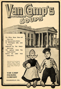 1904 Ad Van Camp Packing Co. Soups Cans White House - ORIGINAL ADVERTISING GH3