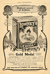 1904 Ad Walter M Lowney Co Breakfast Cocoa Beverage - ORIGINAL ADVERTISING GH3