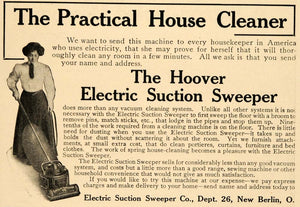 1909 Ad Electric Suction Sweeper Co. Hoover Appliances - ORIGINAL GH3