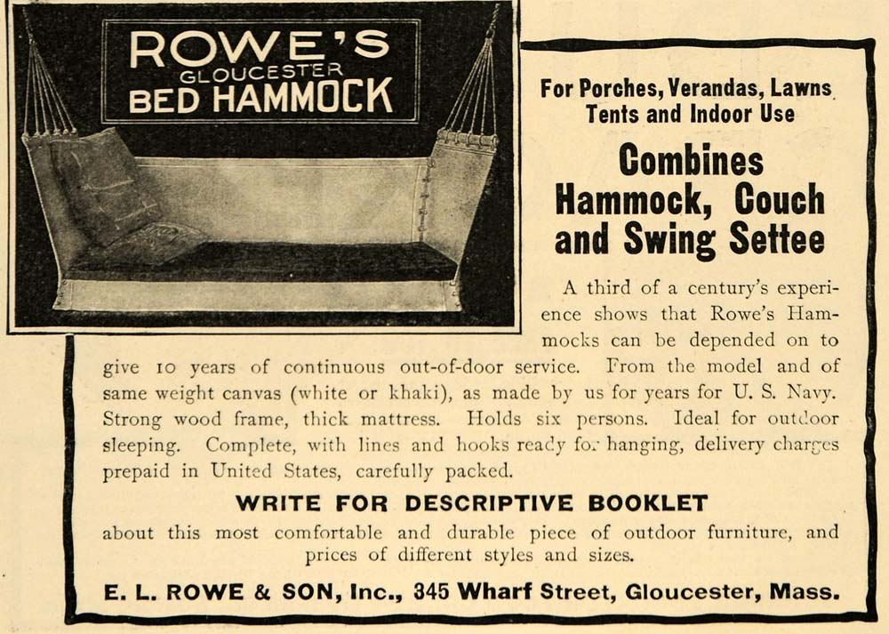 1909 Ad E L Rowe & Son Hammock Couch Swing Settee Bed - ORIGINAL ADVERTISING GH3
