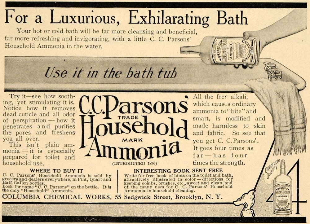 1909 Ad Columbia Chemical Work Parson Household Ammonia - ORIGINAL GH3