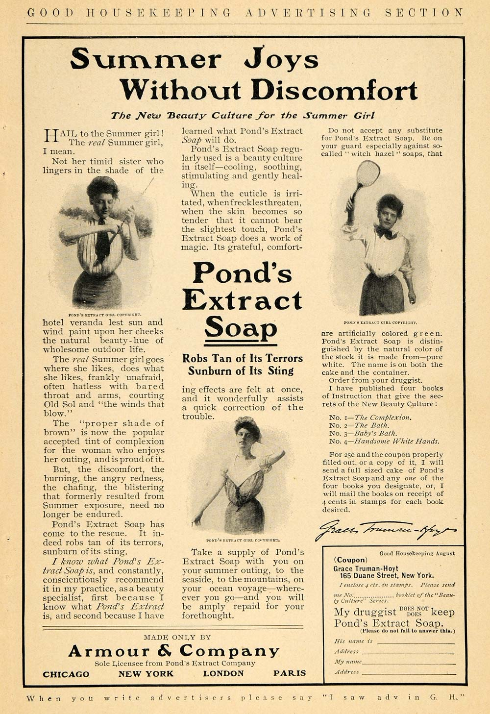 1906 Ad Ponds Extract Soap Armour Tennis Violin Hygiene - ORIGINAL GH3