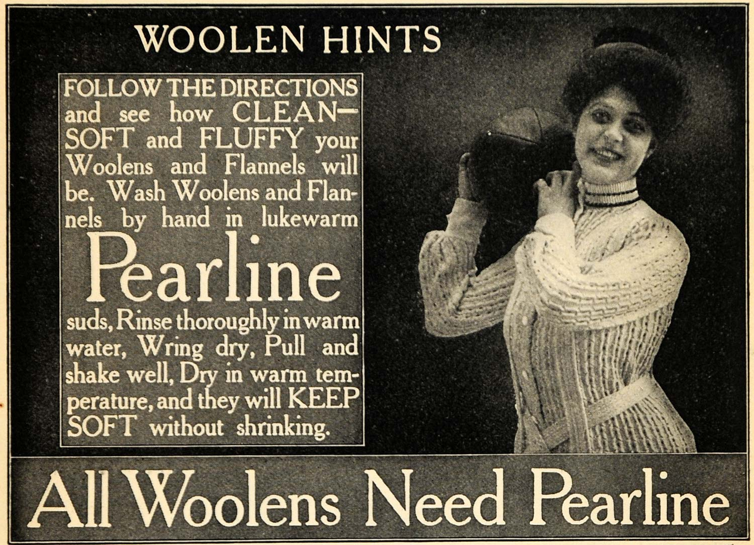 1906 Ad Pearline Soap Flannel Wool Clothing Hygiene - ORIGINAL ADVERTISING GH3