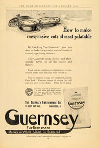 1912 Ad Guernsey Earthenware Casserole Dishes Cook Book - ORIGINAL GH3